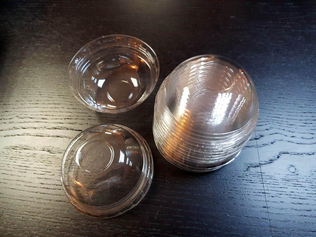 Capace bombate din plastic transparent pentru pahare din hartie si plastic - 5