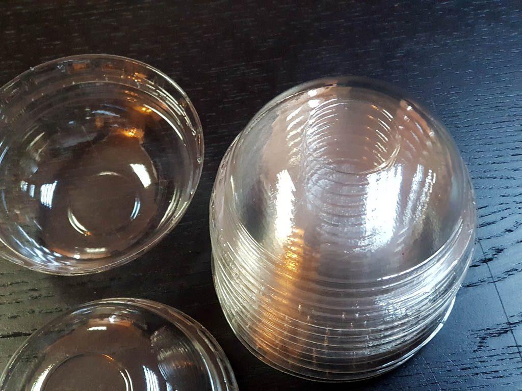 Capace bombate din plastic transparent pentru pahare din hartie si plastic - 7