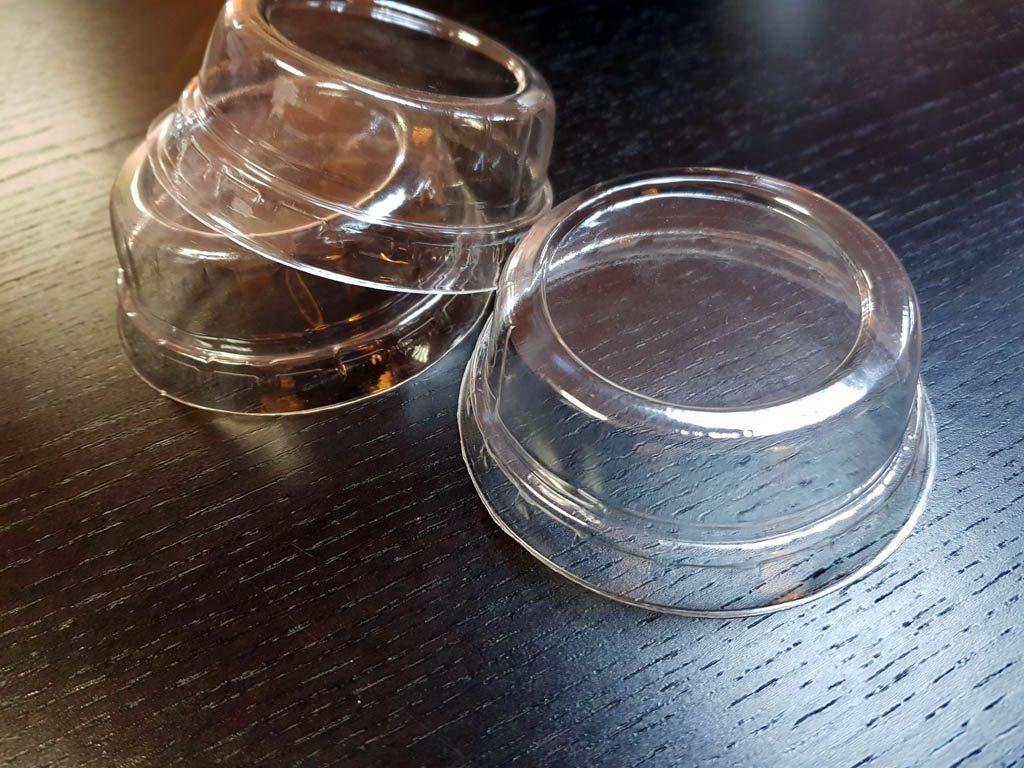 Capace plate din plastic transparent pentru pahare din hartie si plastic - 4