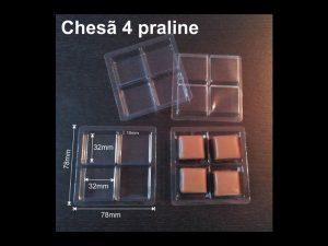 Chese plastic 4 compartimente pentru praline etc.
