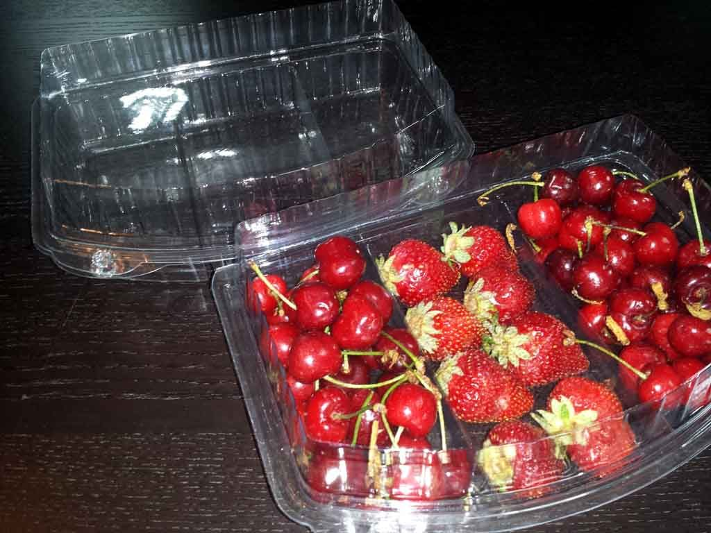 caserole plastic compartimentate pentru cirese,capsuni, fructe