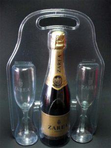 Blistere din plastic pentru set cadou sticla sampanie